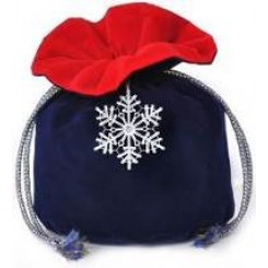 Бархатный мешочек с украшением из кружева  - снежинка